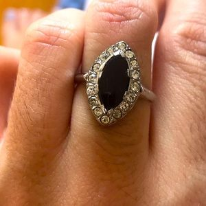 Sterling silver and precious stone ring